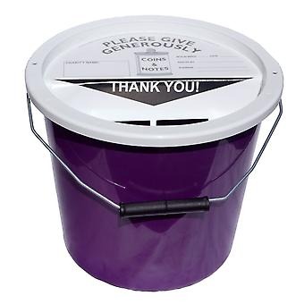 Charity Money Collection Bucket 5.7 Litres - Purple