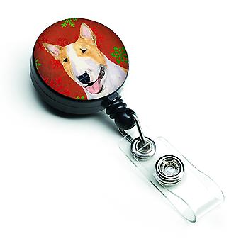Bull Terrier Red and Green Snowflakes Holiday Christmas Retractable Badge Reel