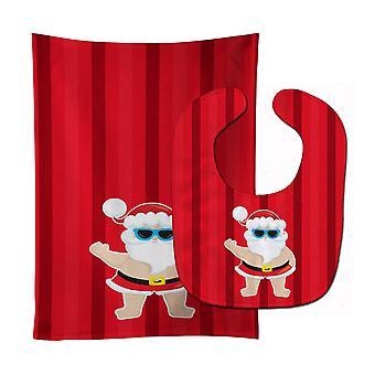 Carolines schatten BB9070STBU Beach Santa Claus #3 Baby Slabbetje & Burp doek