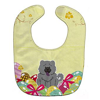 Carolines Treasures  BB6139BIB Easter Eggs Chow Chow Blue Baby Bib