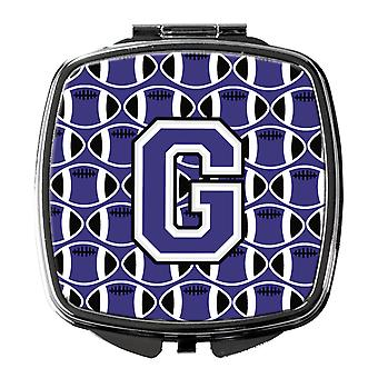 Letter G Football Purple and White Compact Mirror