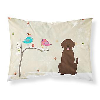 Christmas Presents between Friends Chocolate Labrador Fabric Standard Pillowcase