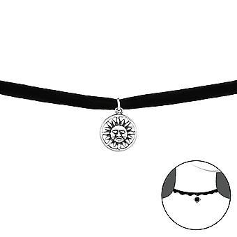 Sun - 925 Sterling Silver + Velvet Chokers - W34595X