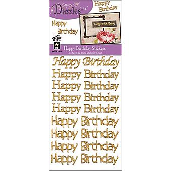 Dazzles Stickers 2 Sheets Happy Birthday Greetings Gold Daz1908