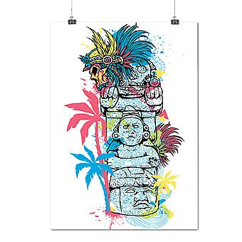 Matte or Glossy Poster with Old Aztec Art Vintage | Wellcoda | *d1291