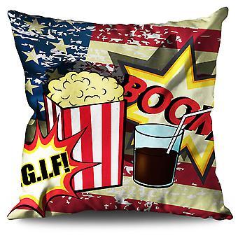Popcorn und Cola Leinen Kissen Popcorn und Cola | Wellcoda