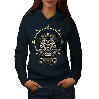 Watching Owl Women NavyHoodie | Wellcoda