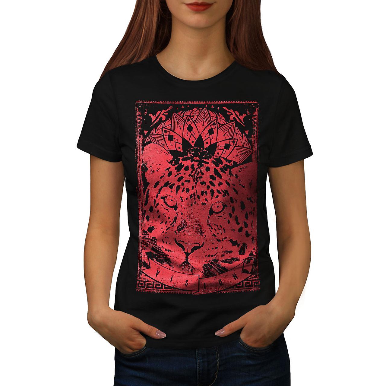 Leopard Vision Animal Women Black T-shirt | Wellcoda