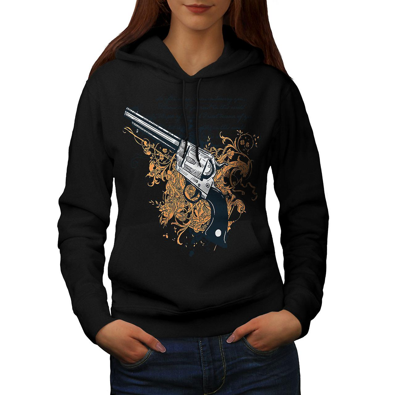 Gun Criminal Gangster Women Black Hoodie | Wellcoda