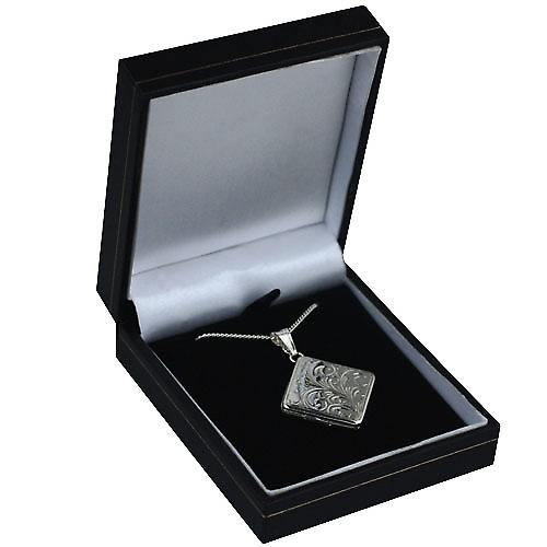 Silver 22mm hand engraved flat diamond shaped Locket with Curb chain