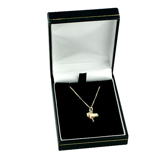 9ct Gold 14x12mm Chick Pendant with a curb Chain 16 inches Only Suitable for Children