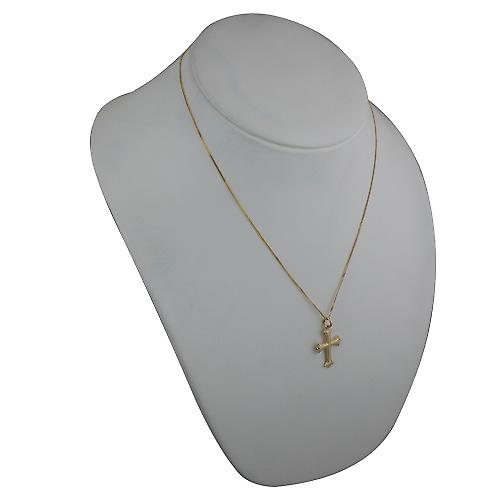 18ct Gold 26x19mm plain Cross with an embossed border on a curb Chain 20 inches