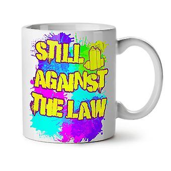 Contra la ley Cool nuevo té blanco cerámica café taza de 11 oz | Wellcoda
