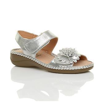Ajvani womens basso gancio tacco zeppa & ciclo cinturino slingback fiore comfort in pelle sottopiede sandali scarpe