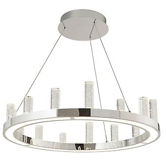 Modern Round Chrome Led Pendant - Searchlight 3167cc