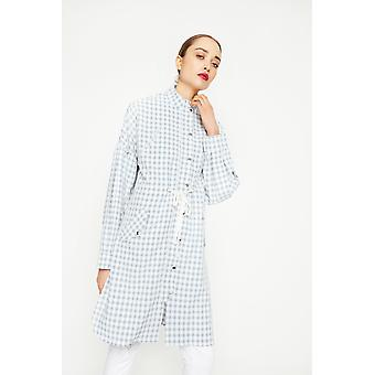 English Factory Collarless Check Midi Coat