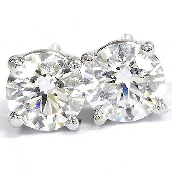 Diamond Stud Earrings Round cut 2.30 ct total weight 14k White Gold