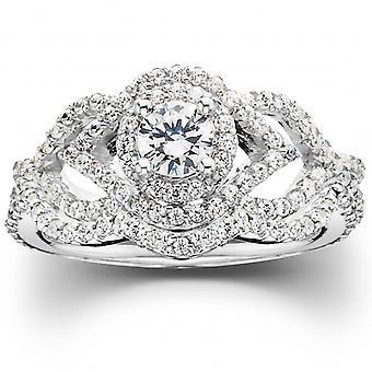 1 CT Diamond Intertwined Engagement Matching Wedding Ring Set 10K White Gold