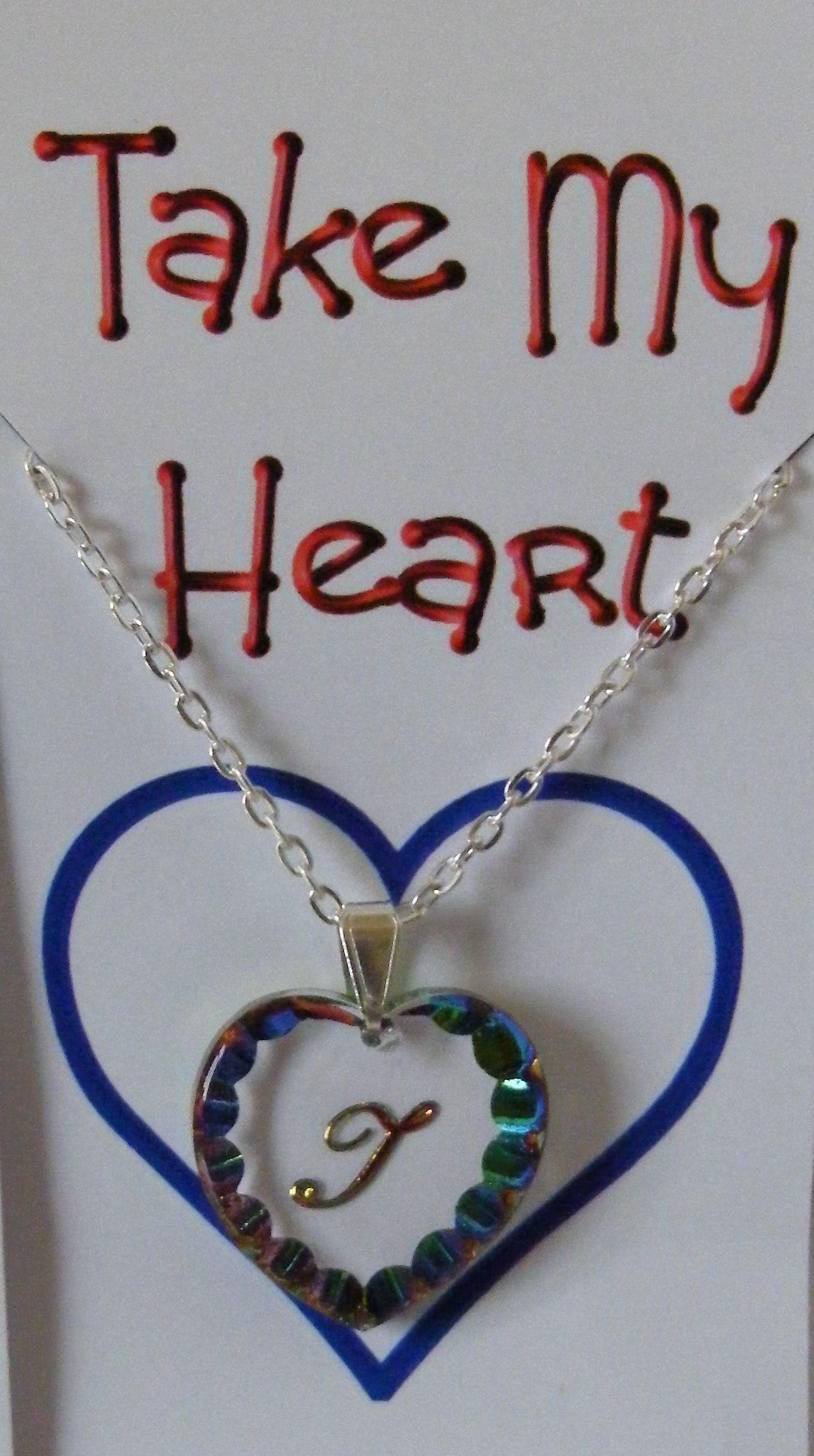 Heliotrope Initial Heart Crystal Pendant - T