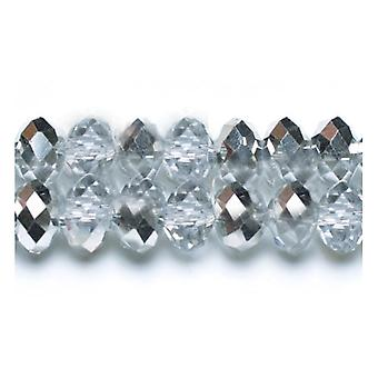 70+  Clear/Silver Czech Crystal Glass 6 x 8mm Faceted Rondelle Beads GC8404-3