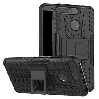 Für Huawei Y7 2018 Hybrid Case 2teilig Outdoor Schwarz Etui Tasche Hülle Cover Schutz