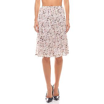 Flowers MIDI chiffon skirt in wrinkle look pink linea TESINI