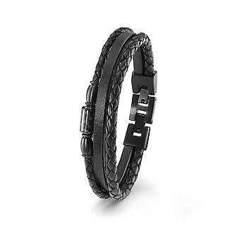 s.Oliver jewel mens leather bracelet black stainless steel 2022637