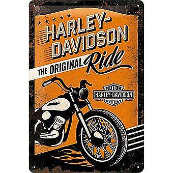 Harley Davidson Original Ride Embossed Metal Sign 300Mm X 200Mm