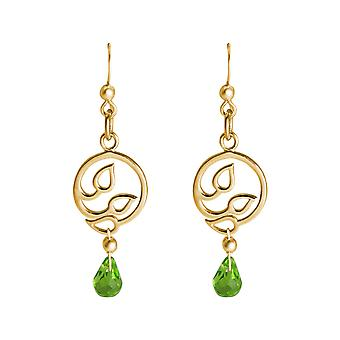 GEMSHINE ladies earrings 925 Silver high-quality gold-plated lotus flowers and Peridot crystals of high quality YOGA. Made in Madrid, Spain. In the elegant jewelry and gift packaging