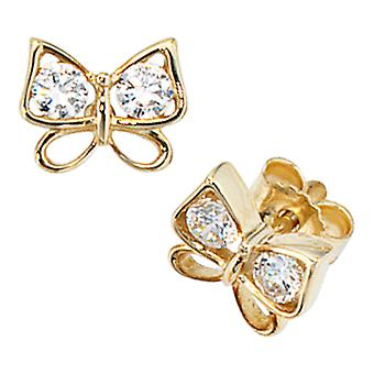 Earrings gold 333 Butterfly gold BUDDY cubic zirconia earrings