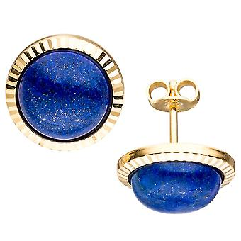 Classic studs 333 Gold Yellow Gold 2 Lapis blue earrings gold earrings
