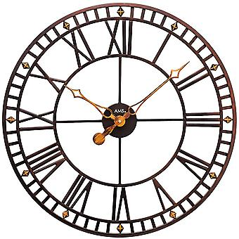 Wall clock quartz analog metal antique vintage round Roman numerals