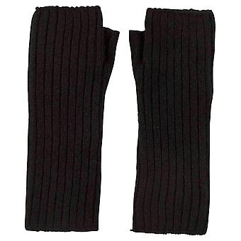 Johnstons of Elgin Ribbed Wrist Warmer Gloves - Black