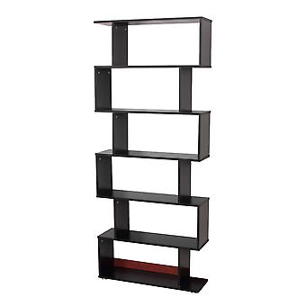 Homcom Wooden Wood Storage 6 Shelves Unit Cabinet Office Furniture (Black)