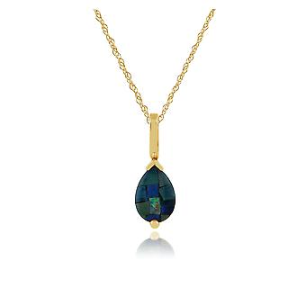 Gemondo 9ct Yellow Gold Pear Shaped 0.61ct Triplet Opal Pendant on Chain