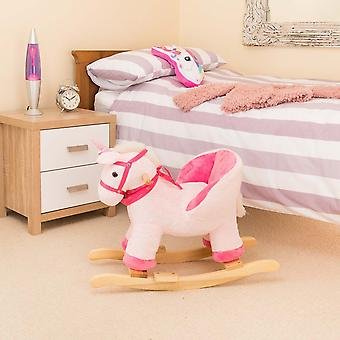 Plush Unicorn Toddler Baby Rocker Wooden Rocking Horse Ride On With Seat Chair