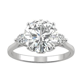 14K White Gold Forever Brilliant 9mm Three Stone Engagement Ring, 2.90cttw DEW
