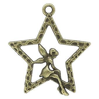 Packet 15 x Steampunk Antique Bronze Tibetan 28mm Star Charm/Pendant Y08990