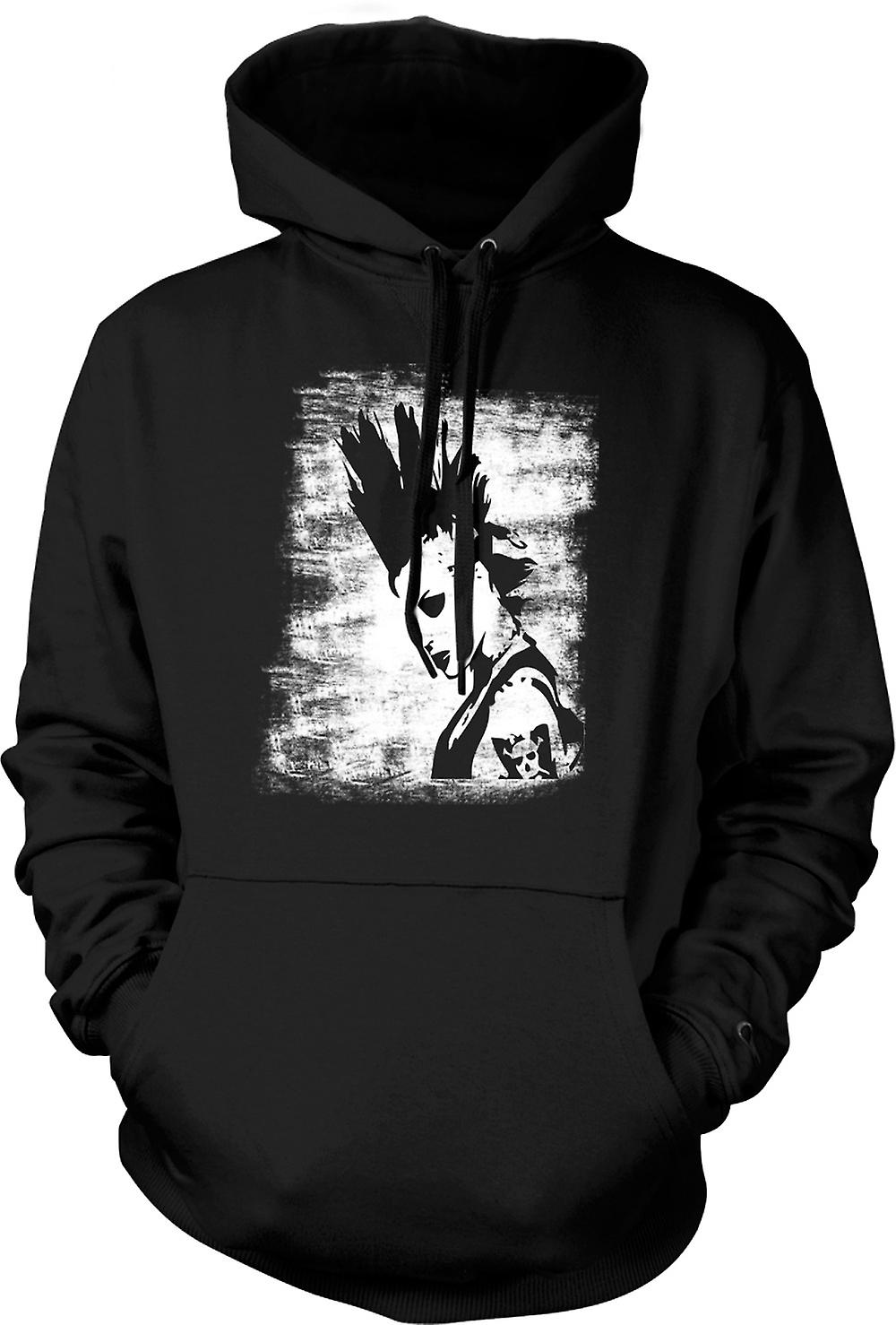 Kinder Hoodie - Punk-Rocker Mohican Girl - BW - Pop-Art