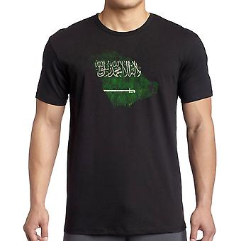 Saudia Arabian Saudi Arabia Flag Map -  T Shirt