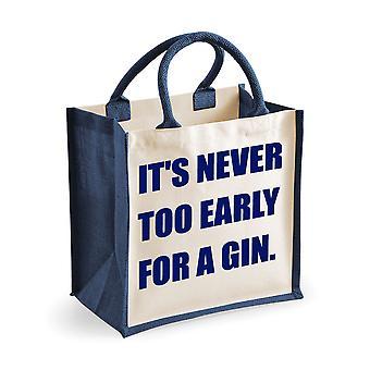 Mittlere Jute-Tasche ist es nie zu früh für eine Tasche, Gin Marineblau