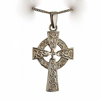 9ct Gold 41x29mm embossed knot design Celtic Cross with bail on a curb Chain 16 inches Only Suitable for Children
