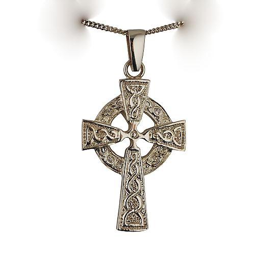 9ct Gold 41x29mm embossed knot design Celtic Cross with bail on a curb chain