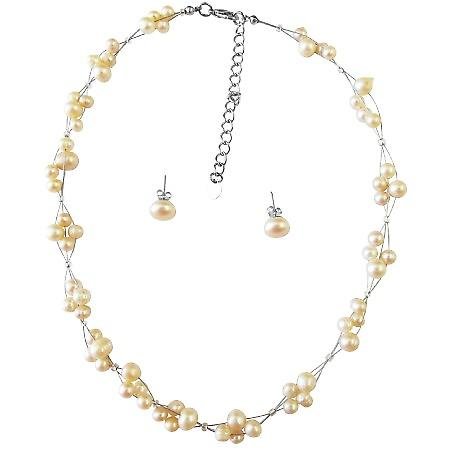 Peach Freshwater Pearls Necklace Stud Earrings Wedding Jewelry Set