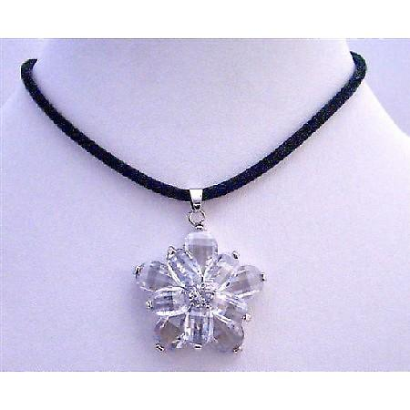 Clear Crystals Sunflower Pendant with Velvet Cord Necklace