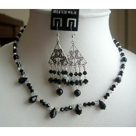 Gorgeous Authentic Jet Swarovski Crystals AB Crystals Necklace Set