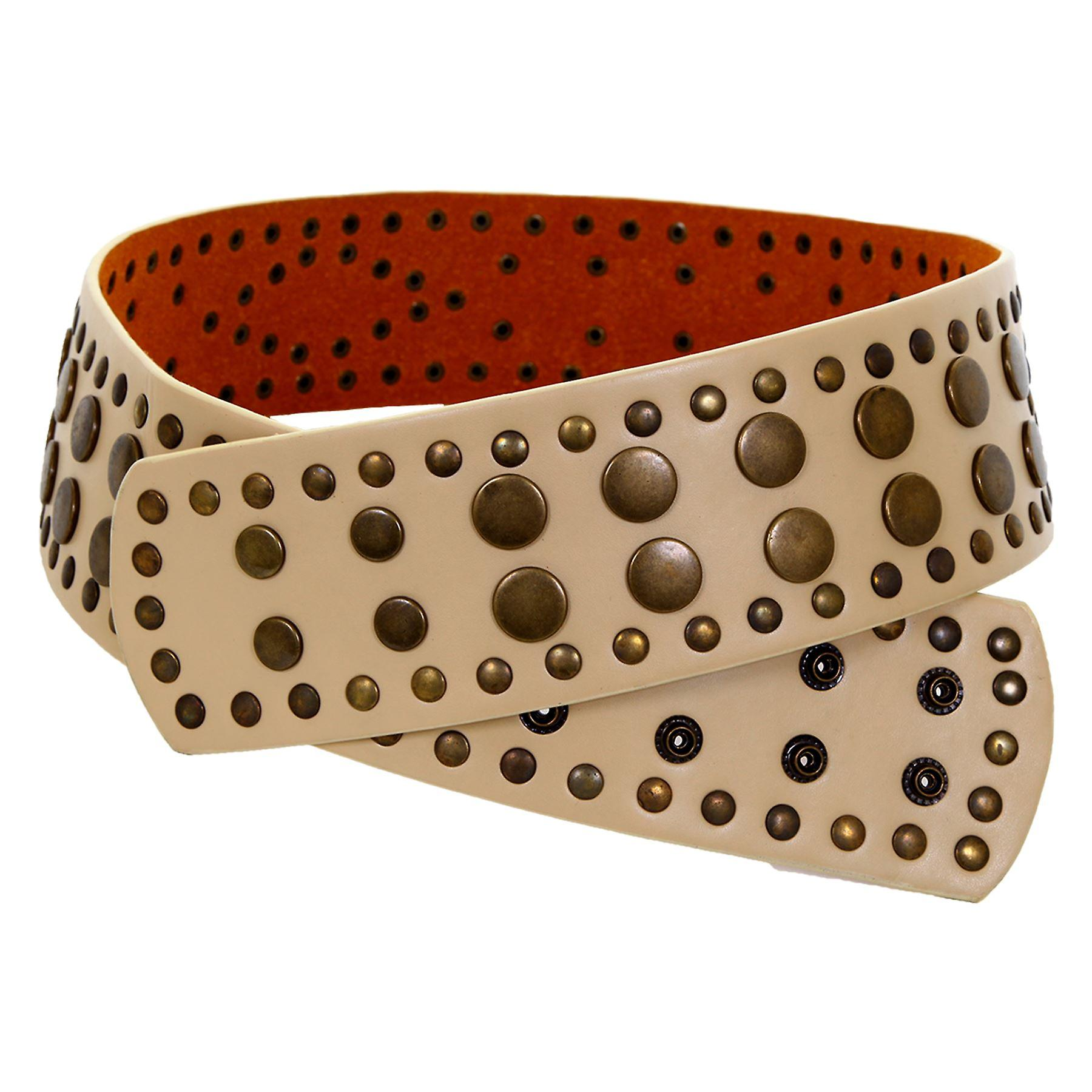 Ladies Studded Faux Leather Black Beige Women's Casual Adjustable Popper Belt