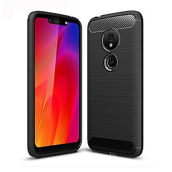 Motorola Moto G7 jeu TPU case carbone fibre optique brossé étui de protection noir