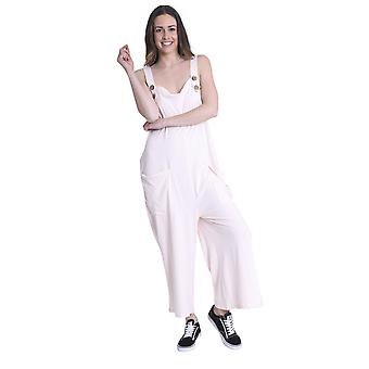 Ladies Loose Fit Cotton Jersey Dungarees - Pink Lightweight One Size Wide Leg Ov