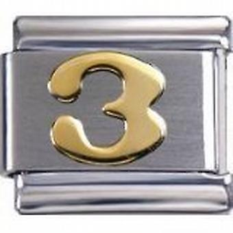Toc Stainless Steel Number 3 Italian Charm For Italian Bracelet